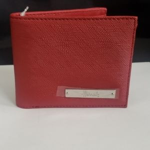 Harrods Caspian Red Textured Folding Wallet